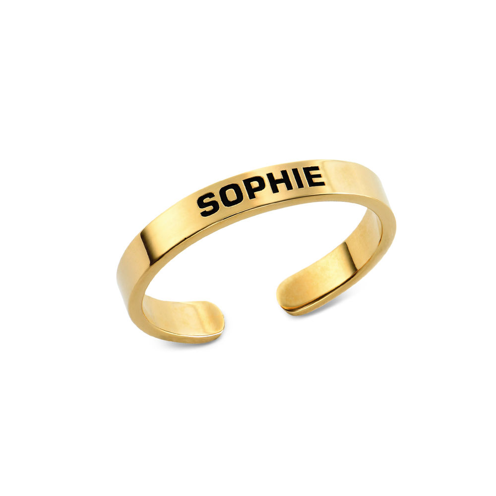 Open Adjustable Engraved Name Ring in Gold Vermeil