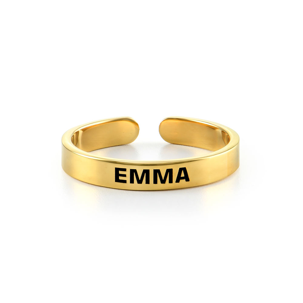 Open Adjustable Engraved Name Ring in Gold Vermeil - 1