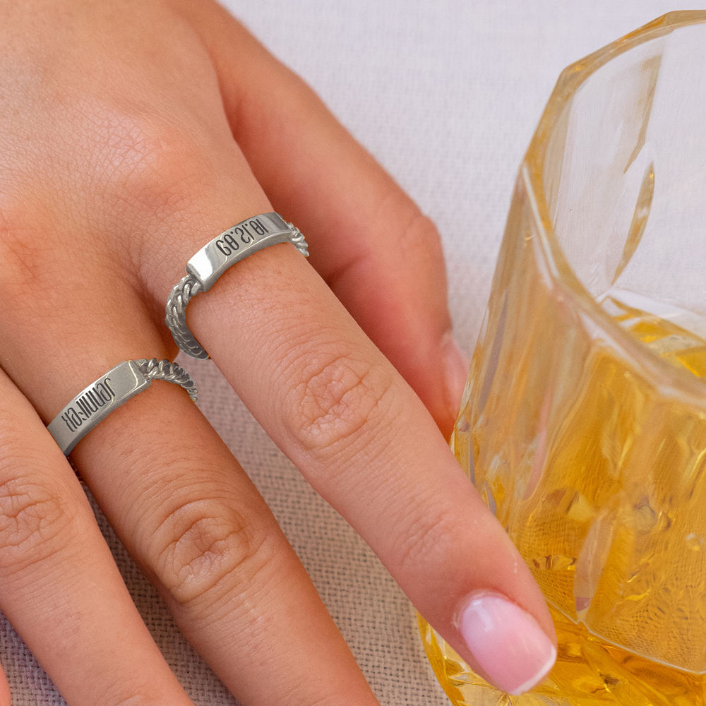 Engraved Name Link Ring in Sterling Siver - 1