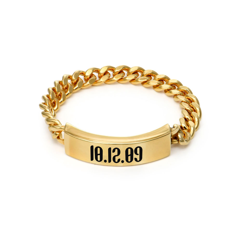 Engraved Name Link Ring in Gold Vermeil