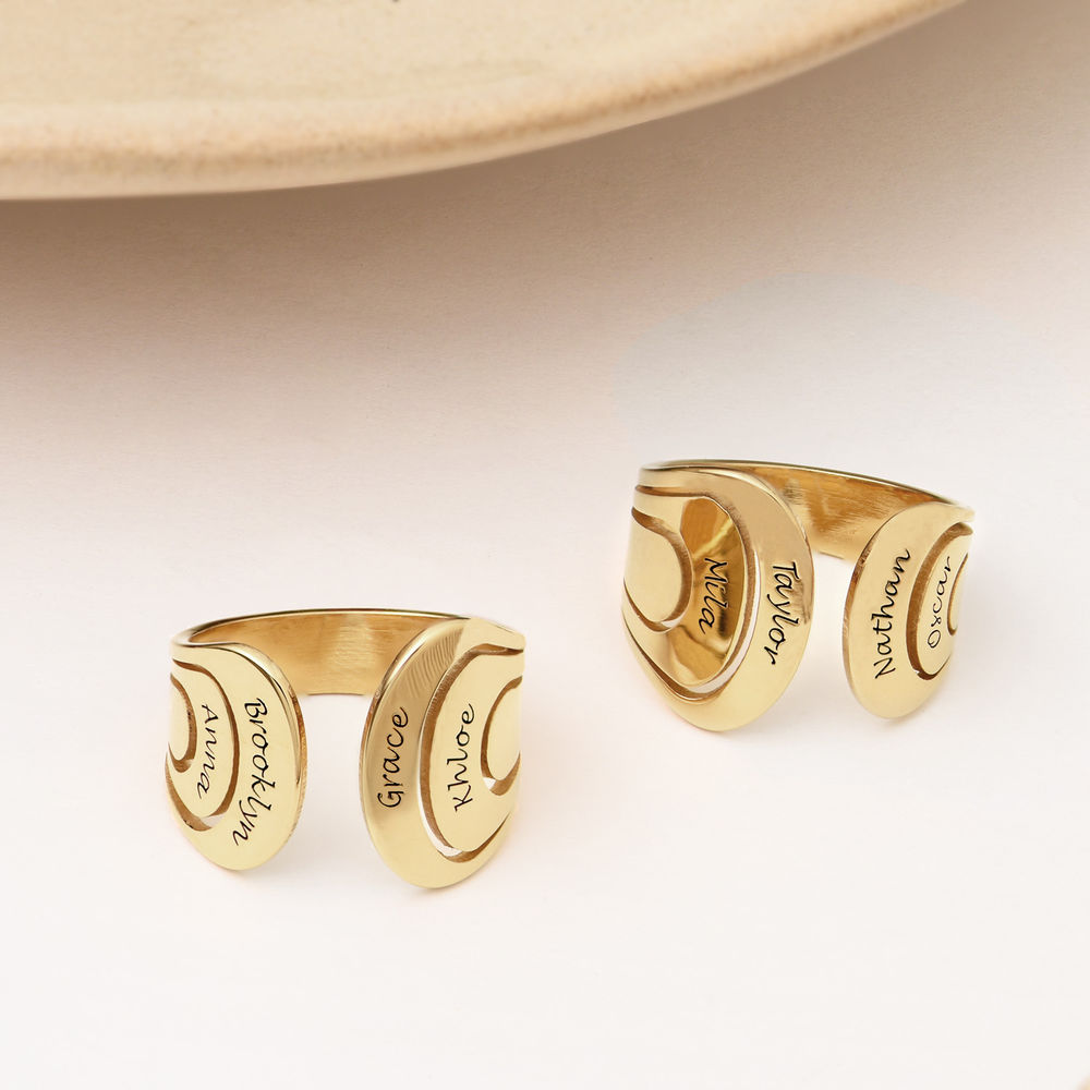 Hug Ring with Kids Name in Gold Plating - 2