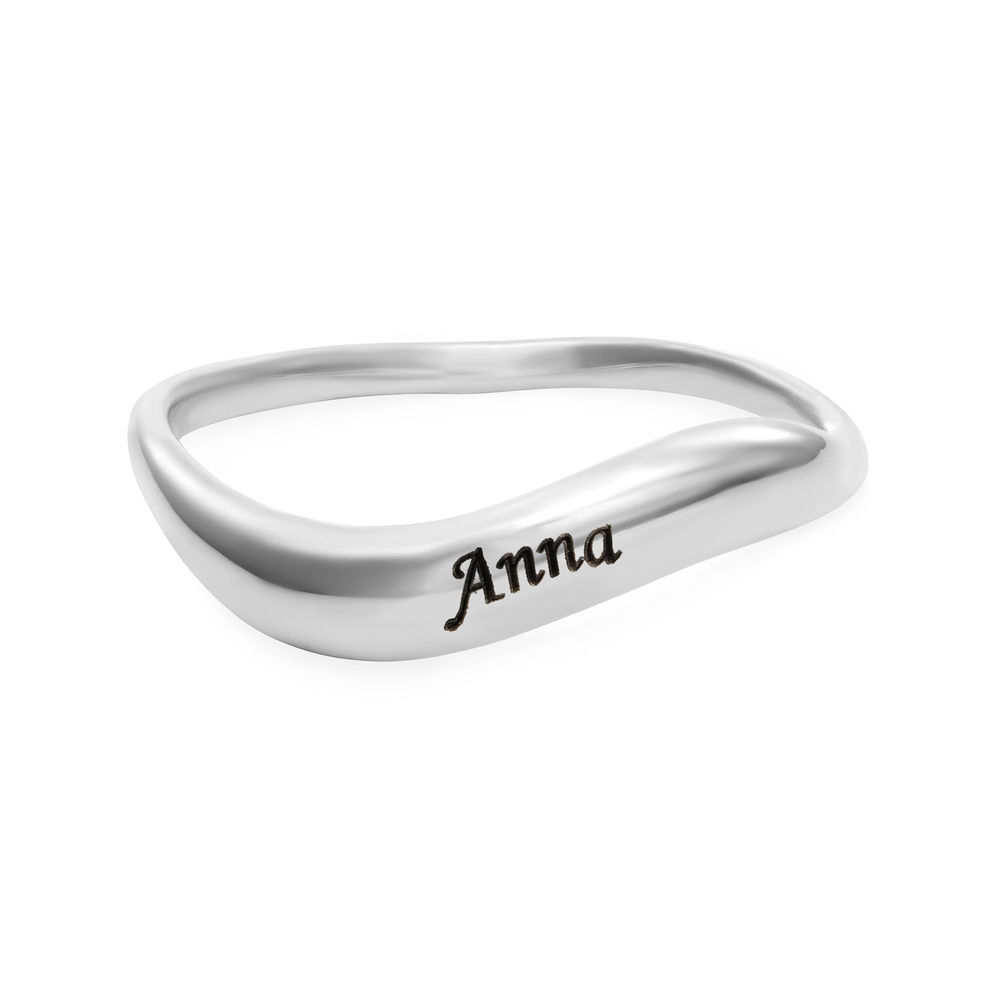 Stackable Wavy Name Ring in Sterling Silver