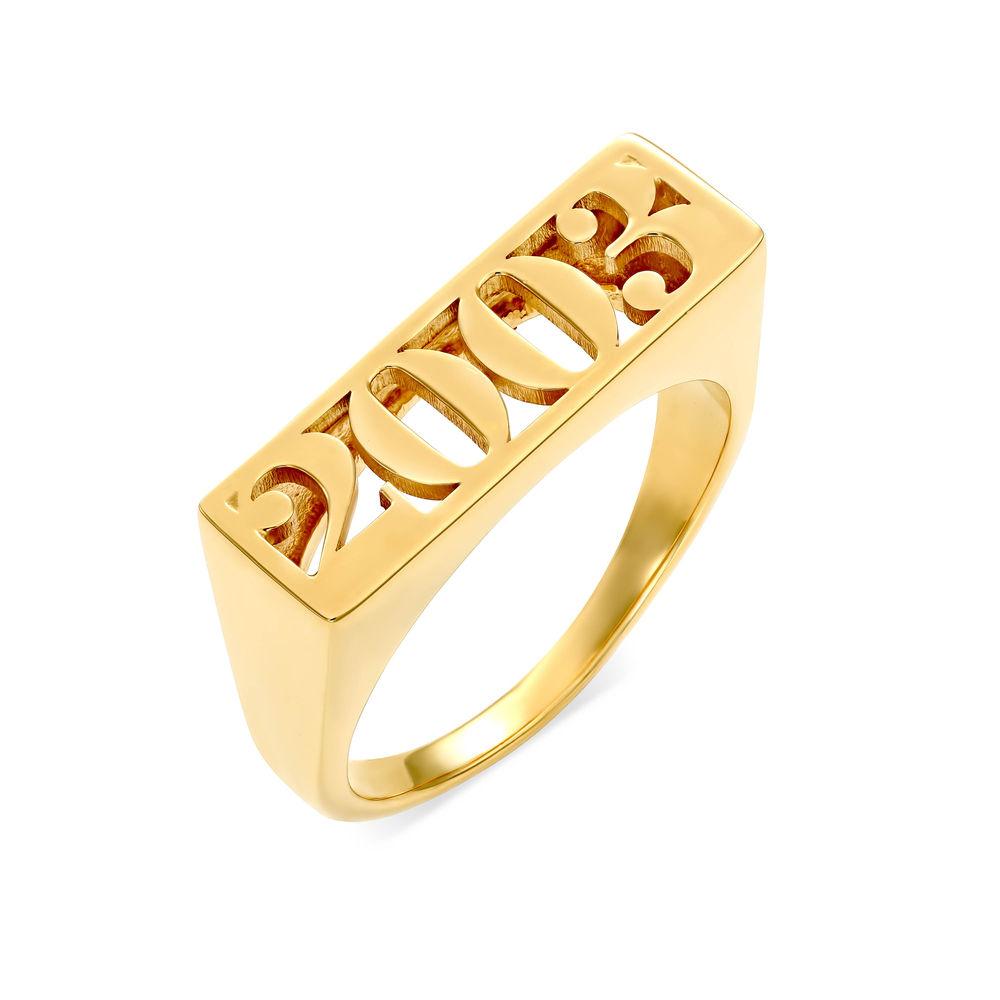 Block Name Ring in Gold Plating
