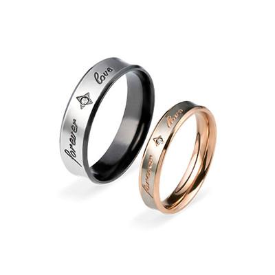 Couple's Promise Ring Set - FOREVER LOVE