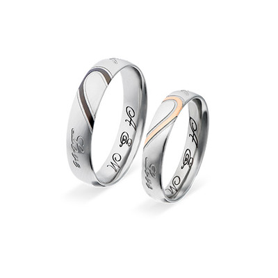 Couple's Promise Ring Set - Half Hearts