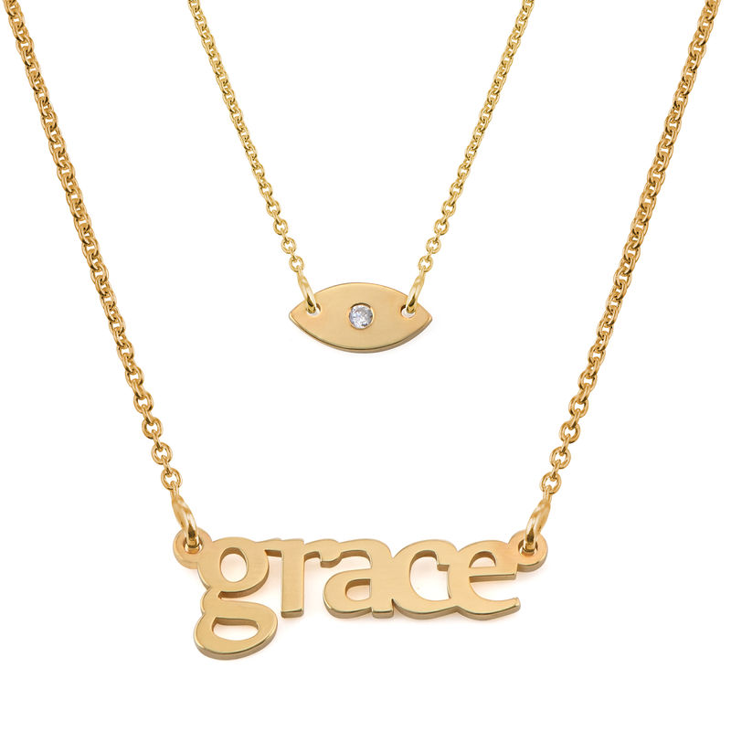 Personalised Name Necklace and Evil Eye Necklace Set in Gold Plating