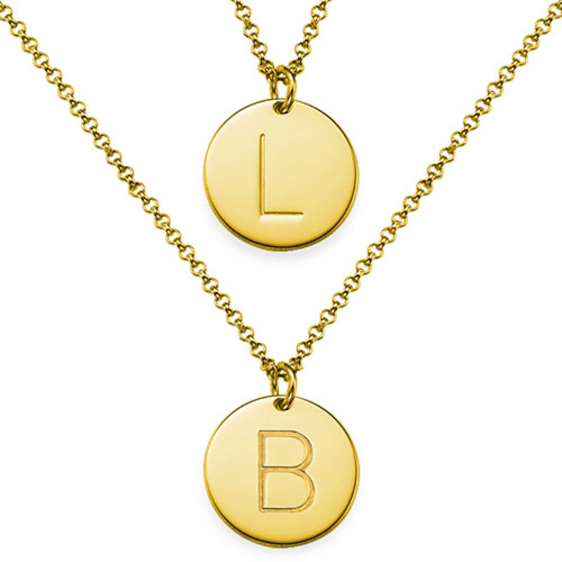 2 Initial Charm Necklaces in Gold Plating