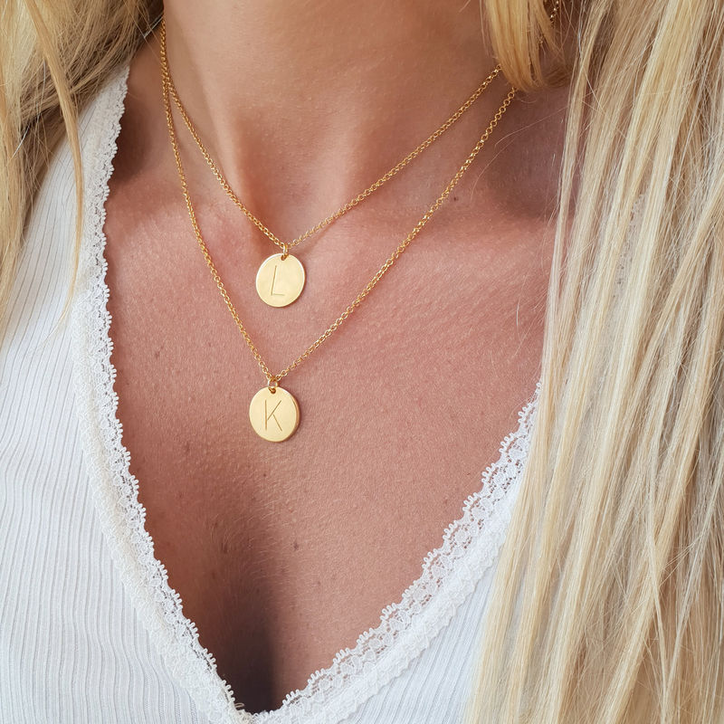 2 Initial Charm Necklaces in Gold Plating - 2