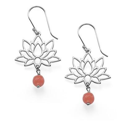 Sterling Silver Lotus Flower Earrings