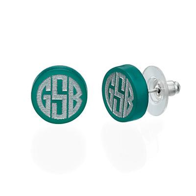 Block Acrylic Monogram Stud earrings