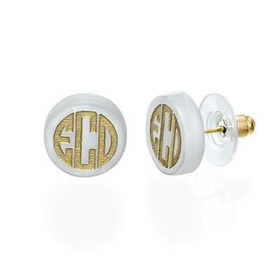Block Acrylic Monogram Stud earrings - 1