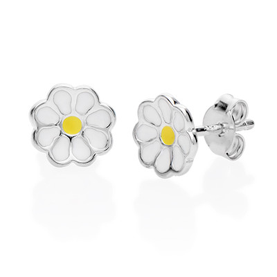 Enamel Flower Earrings for Kids