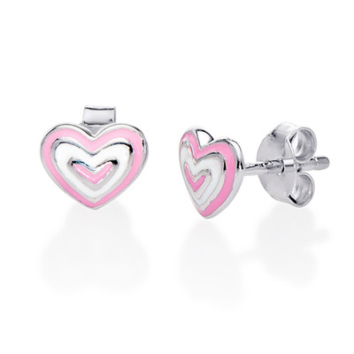 Pink Heart Earrings for Kids