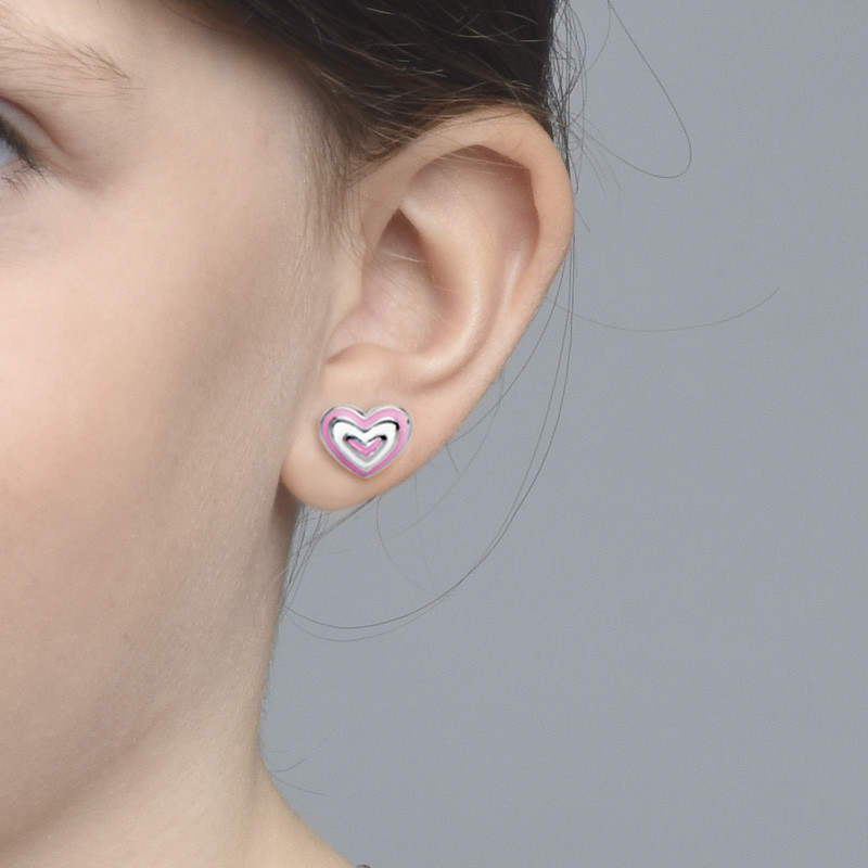 Pink Heart Earrings for Kids - 1