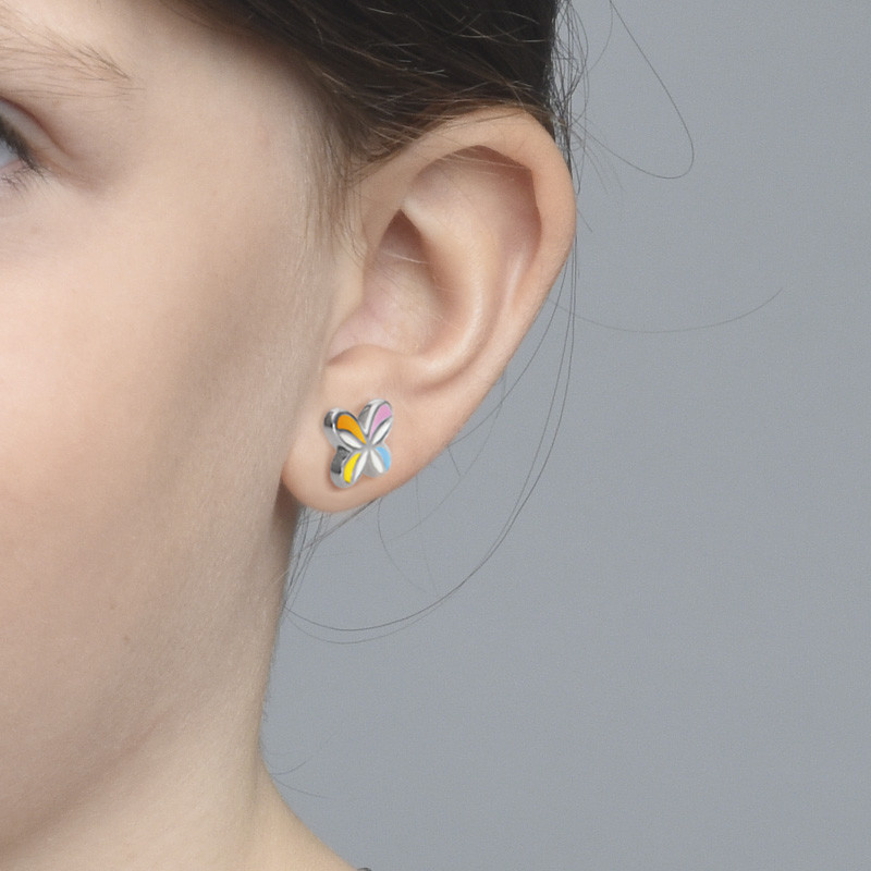 Multicolor Butterfly Wing Earrings for Kids - 1