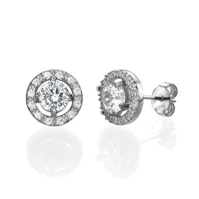 Round Cubic Zirconia Stud Earrings