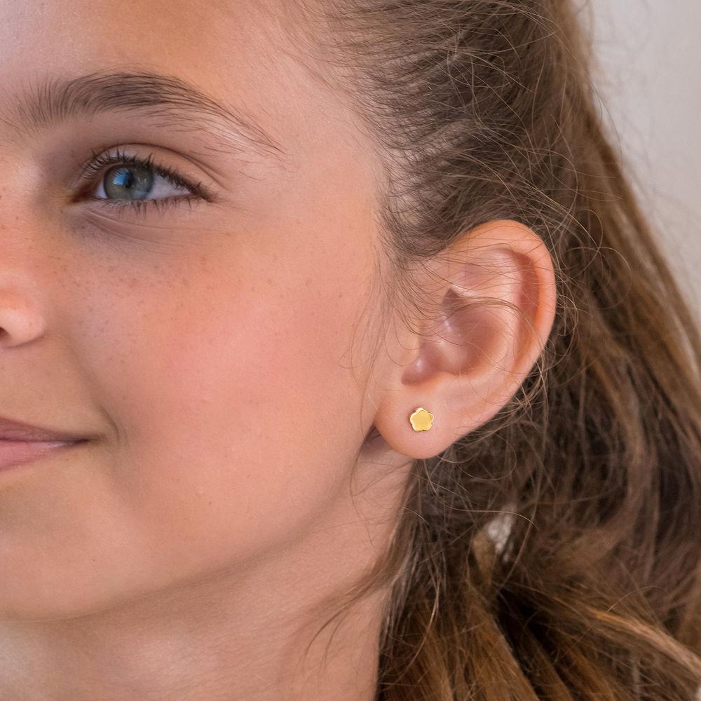 Little Girl Gold Stud Earrings - 2