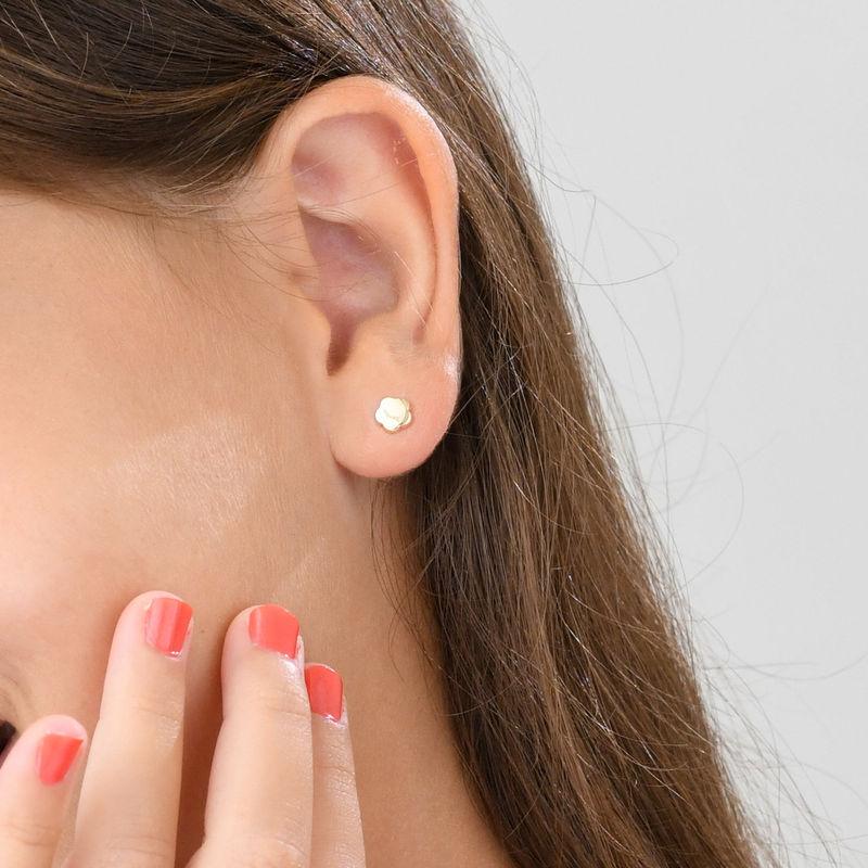 Little Girl Gold Stud Earrings - 3