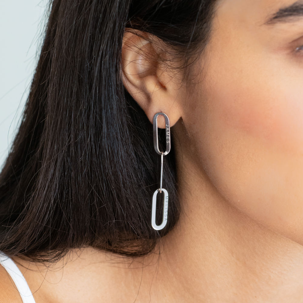 Aria Link Chain Earrings in Sterling Silver - 1