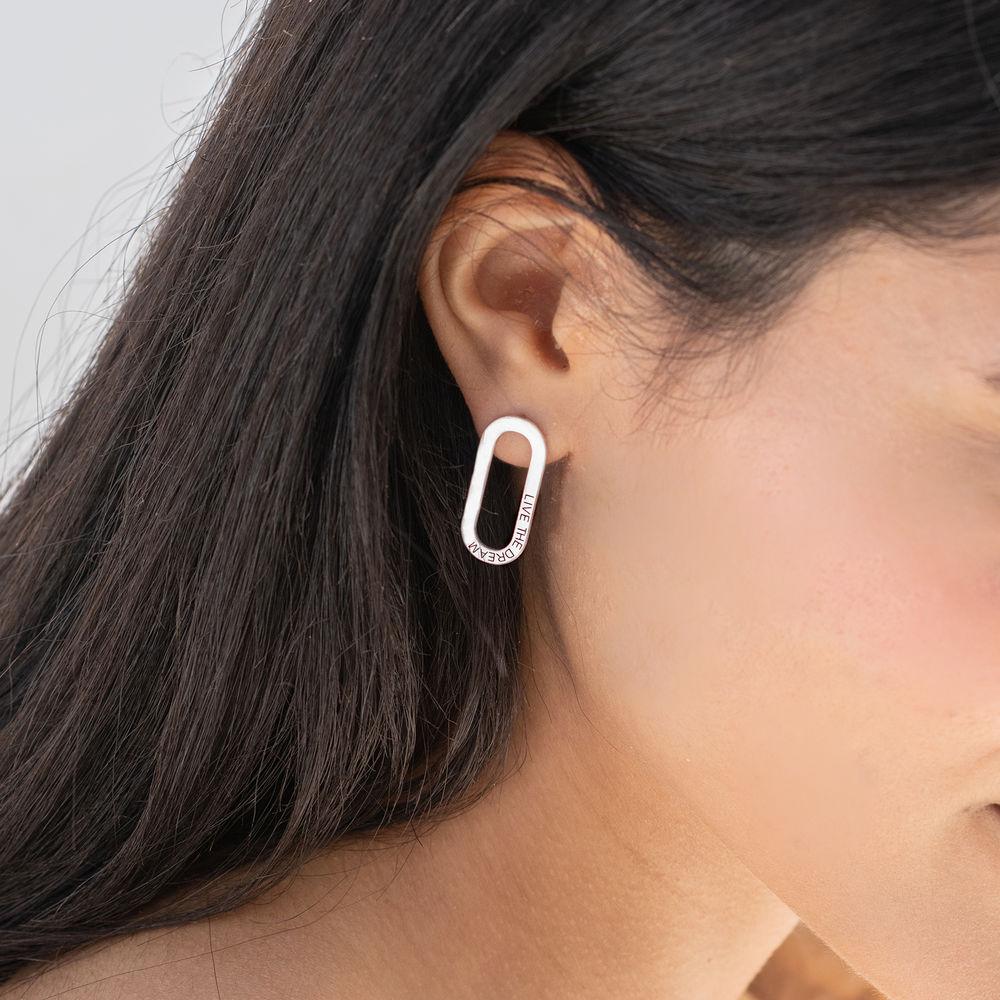 Engraved Single Chain Link Earrings in Silver - 1
