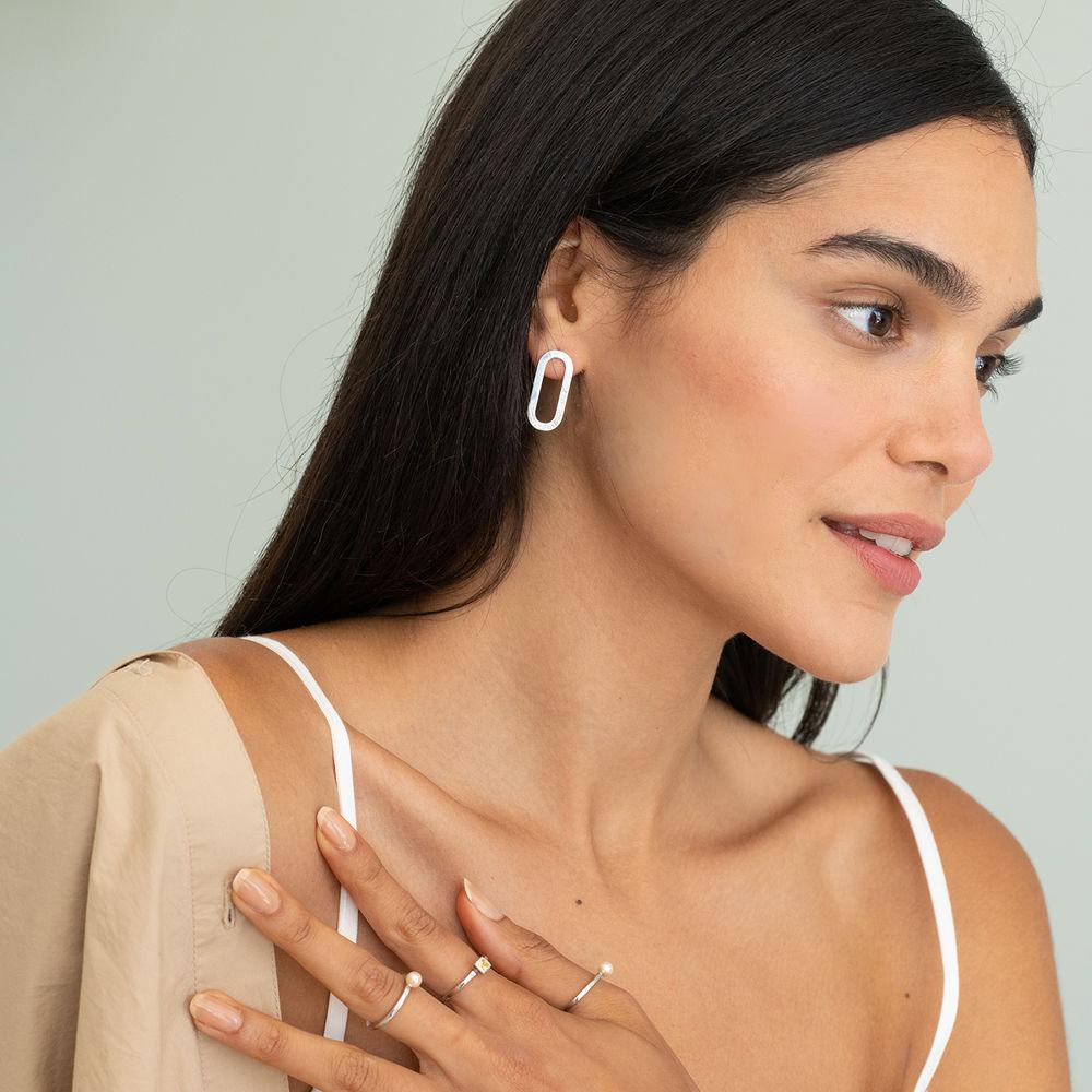 Engraved Single Chain Link Earrings in Silver - 2