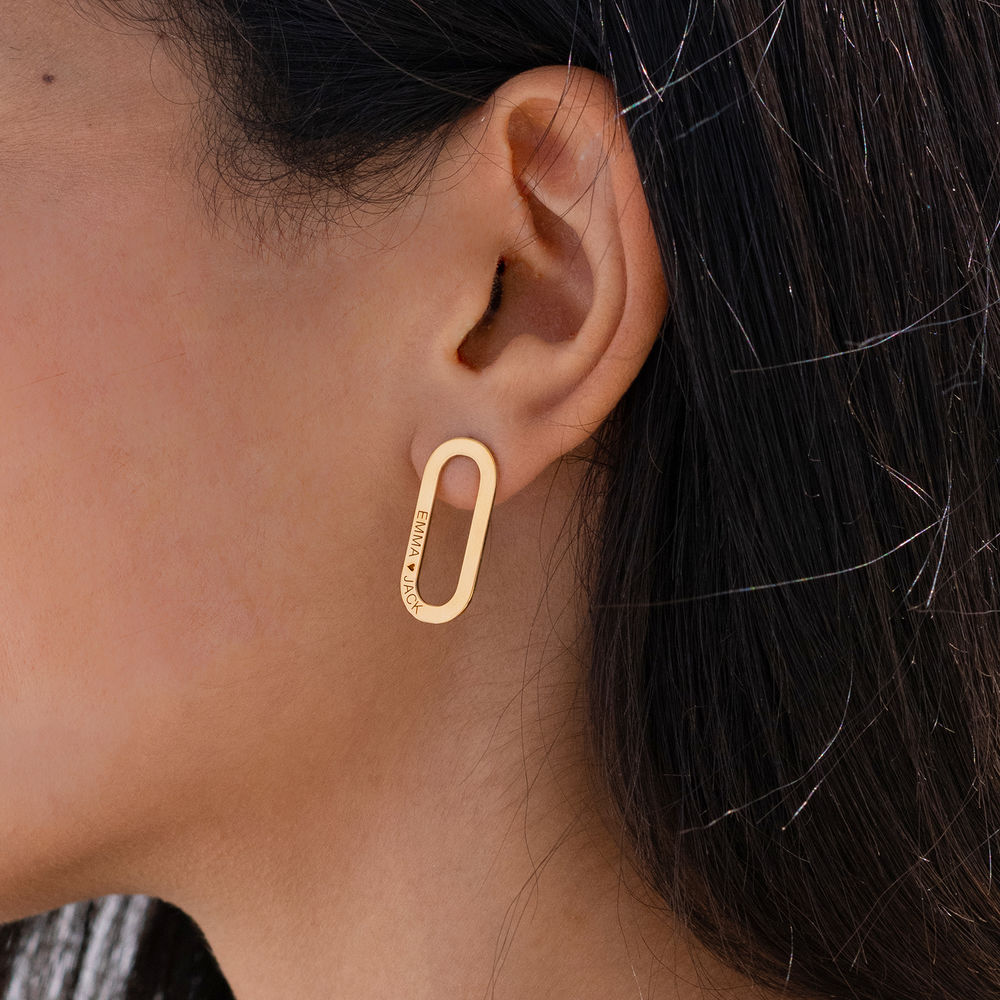 Engraved Single Link Chain Earrings with Engraving in Gold Plating - 1