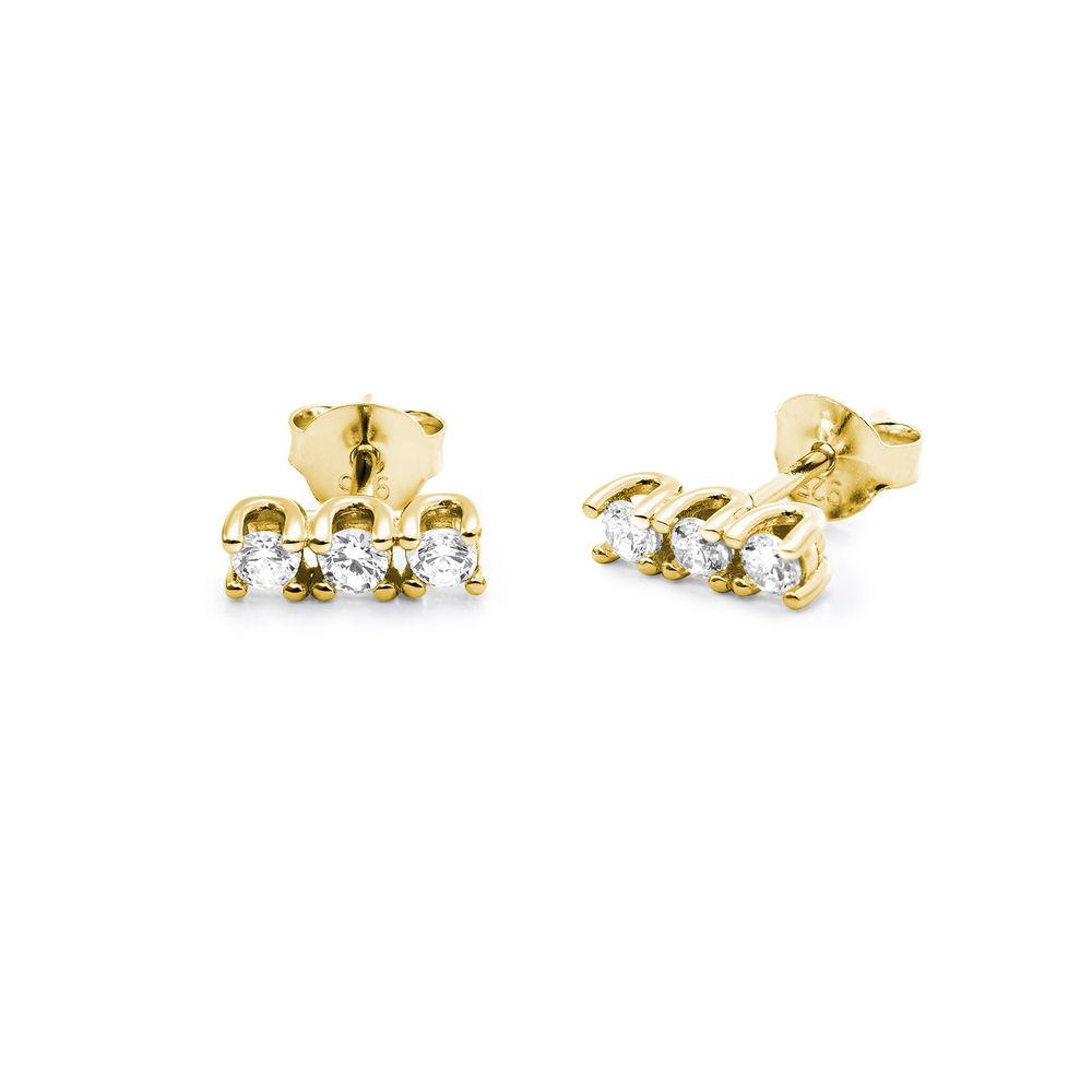 Cubic zirconia stud earrings in gold plating