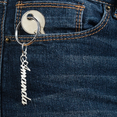 Personalized Name Keychain in Sterling Silver - 1