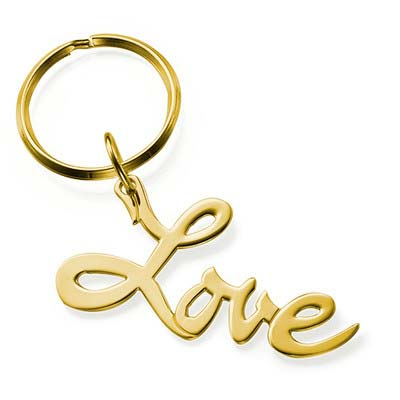 "18ct Gold Plated ""Love"" Keyring"