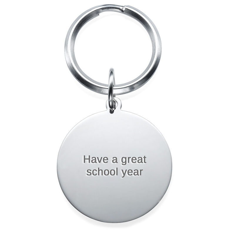 Engraved Round Photo Keychain in Sterling Silver - 1