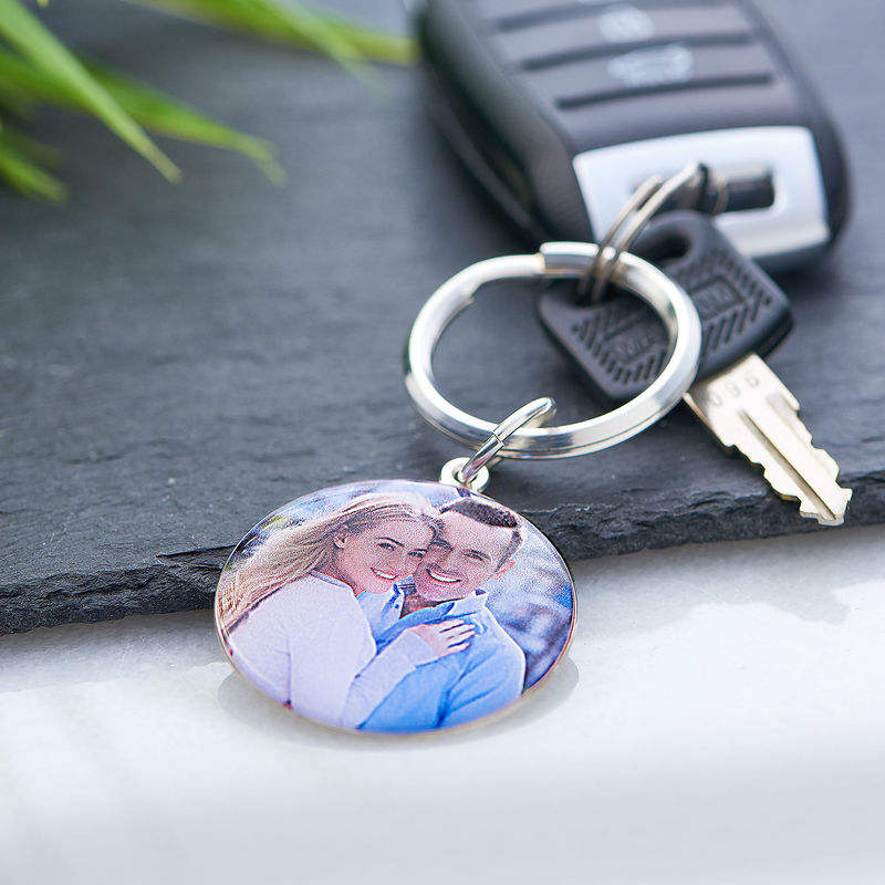 Engraved Round Photo Keychain in Sterling Silver - 4