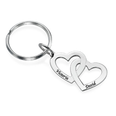 Sterling Silver Heart in Heart Keyring