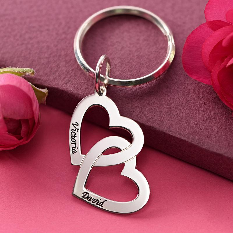 Sterling Silver Heart in Heart Keyring - 2