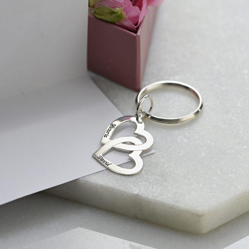 Sterling Silver Heart in Heart Keyring - 3