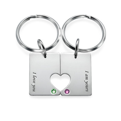 Couple's Dog Tag Keyring Set