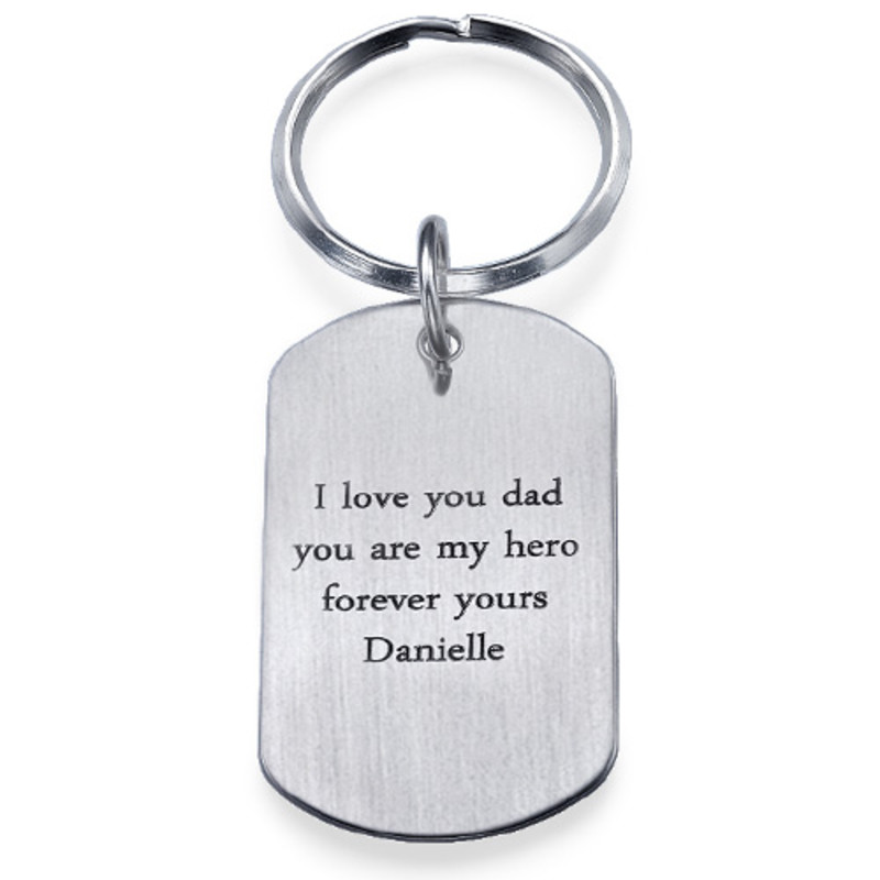 Engraved Dog Tag Keychain for Men