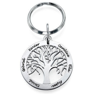 Personalized Family Tree Keychain in Sterling Silver