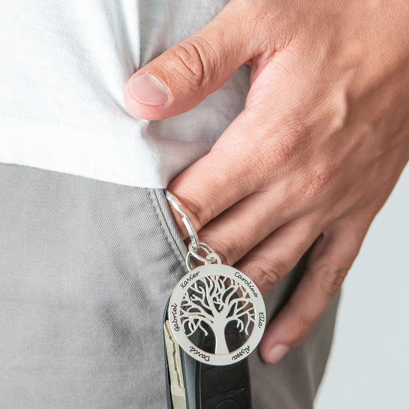 Personalized Family Tree Keychain in Sterling Silver - 1