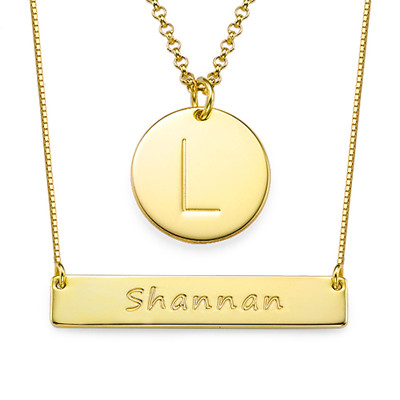 Layer it Up: Engraved Bar Necklace & Initial Necklace