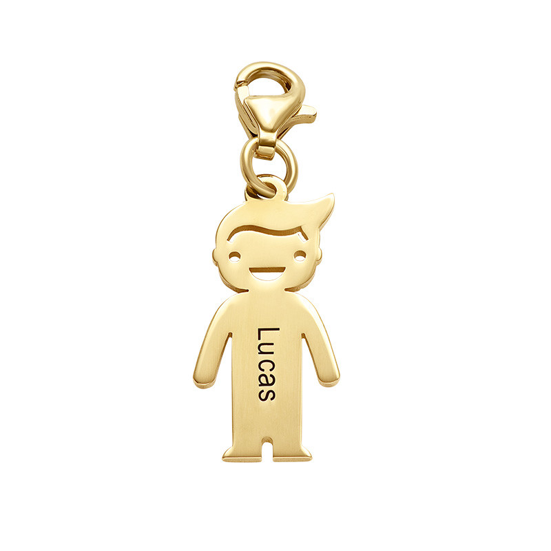 Gold Plated Engraved Boy Pendant on Lobster Clasp