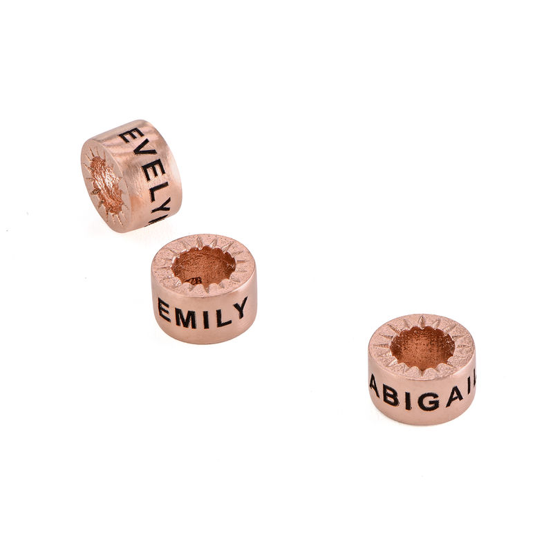 Custom Engraved Beads in 18ct Rose Gold Plating for Linda Necklace