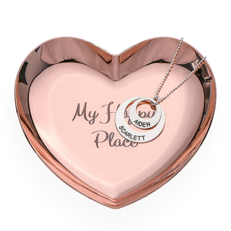 Personalised Heart Jewellery Tray in Rose Gold Colour - 2