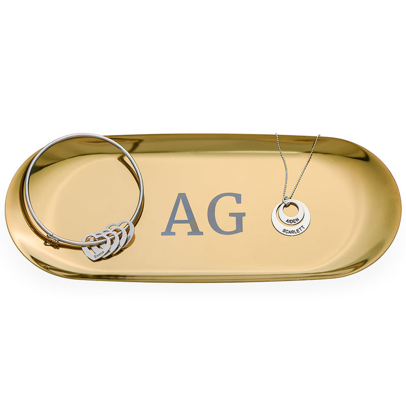 Personalised Oval Jewellery Tray in Gold Colour - 1