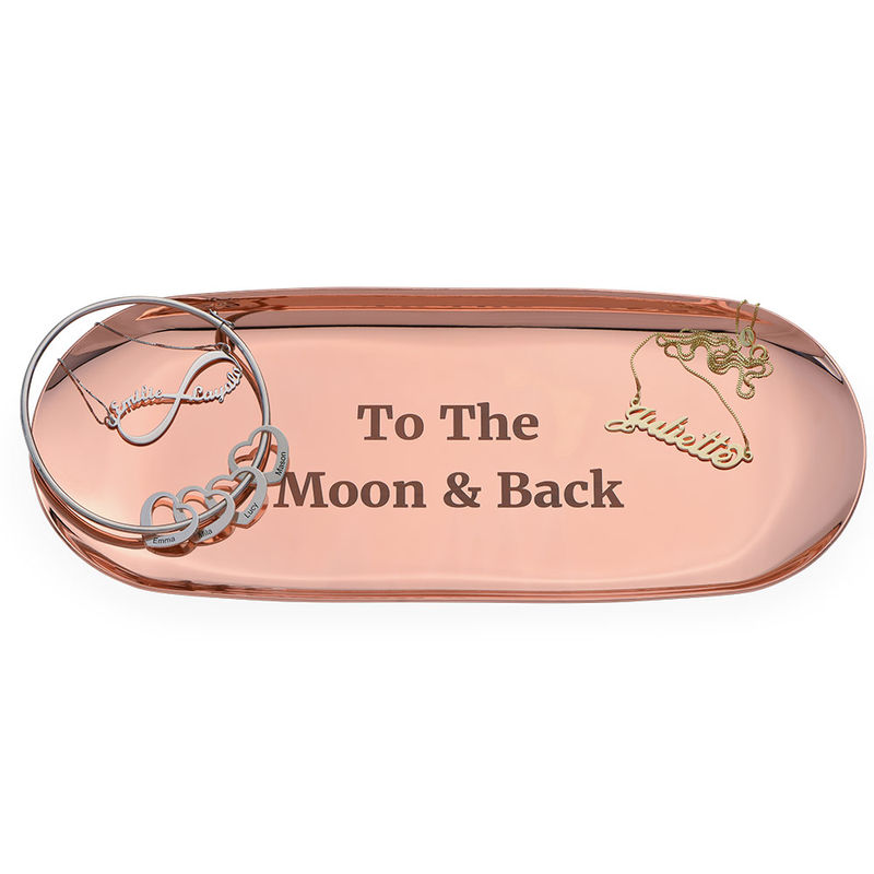 Personalised Oval Jewellery Tray in Rose Gold Colour - 1