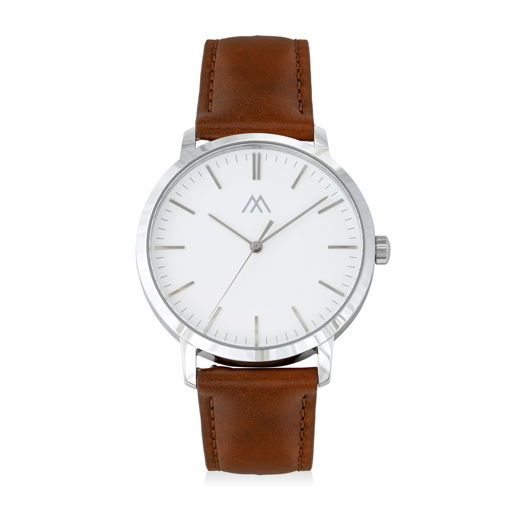 Hampton Minimalist Brown Leather Band Watch for Men with White Dial