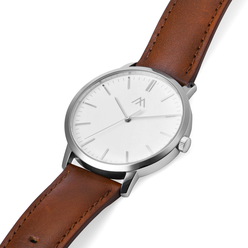 Hampton Minimalist Brown Leather Band Watch for Men with White Dial - 1
