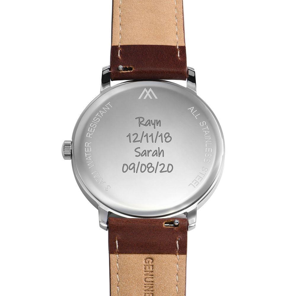 Hampton Minimalist Brown Leather Band Watch for Men with White Dial - 4
