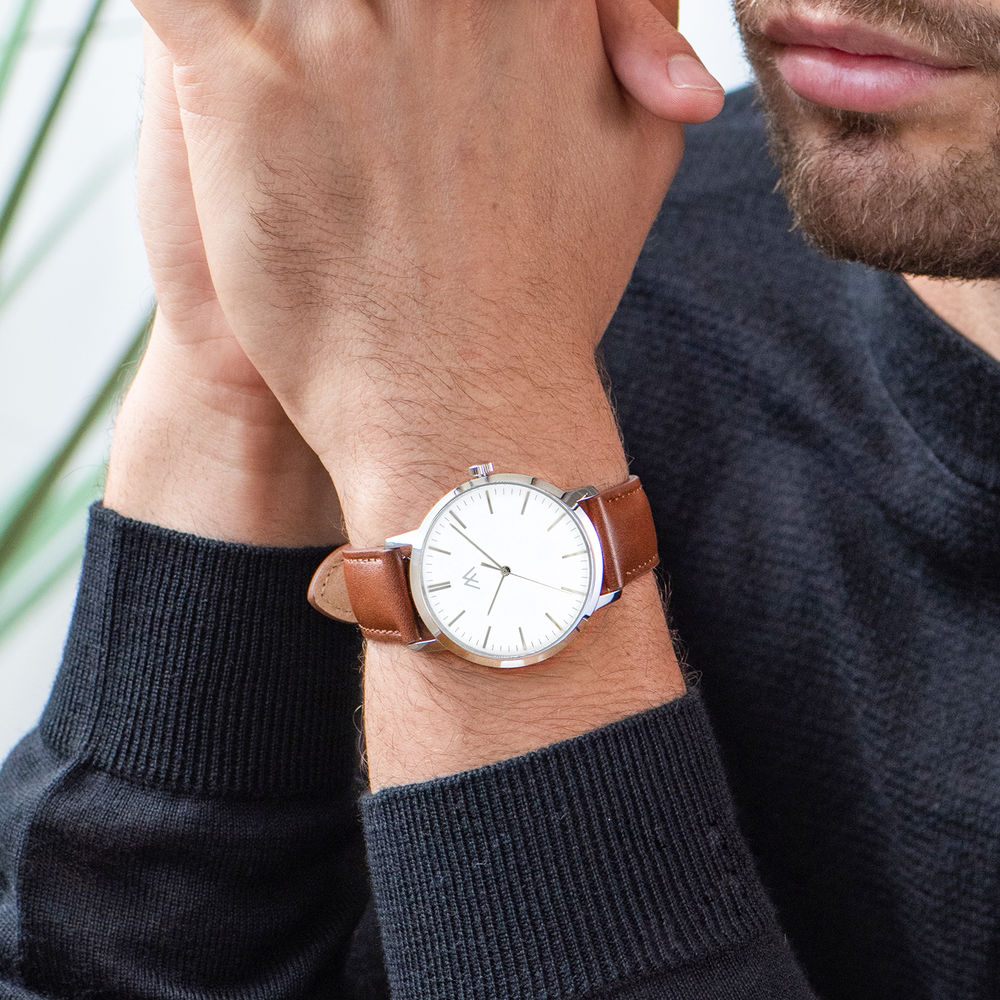 Hampton Minimalist Brown Leather Band Watch for Men with White Dial - 6