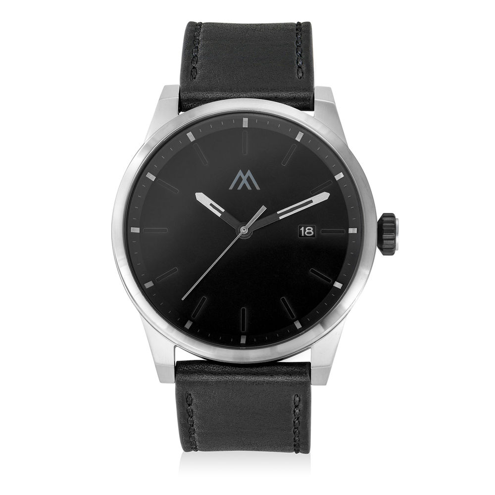 Odysseus Day Date Minimalist Leather Strap Watch