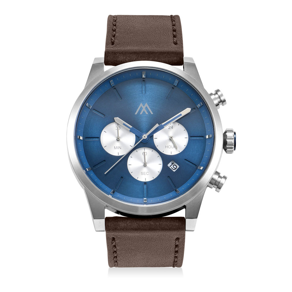 Quest Chronograph Leather Strap Watch for Men with Blue Dial